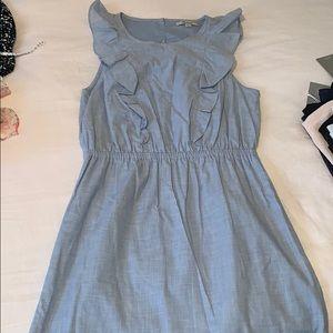 Madewell chambray ruffle front dress